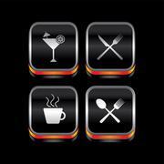 metal plate restaurant theme icon button - stock illustration