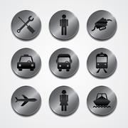 Metal plate theme icon button set Stock Illustration