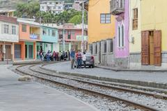 Urban Scene Alausi Town Ecuador - stock photo