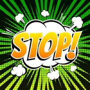Stop comic book bubble text retro style Stock Illustration