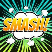 Smash comic book bubble text retro style - stock illustration