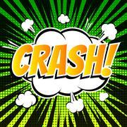 Crash comic book bubble text retro style - stock illustration
