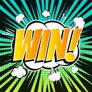 Win comic book bubble text retro style - stock illustration