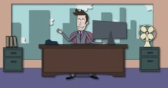 Cartoon Shadow FX Drop Down Office and Businessman - stock footage
