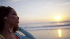 Happy Ethnic African American female enjoying leisure activity taking selfie Stock Footage