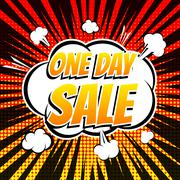 One day comic book bubble text retro style Stock Illustration