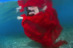 Underwater fashion in Aegean Sea, island Symi, Greece Stock Photos