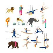 Vector set of circus artists, acrobats and animals isolated on white background Stock Illustration