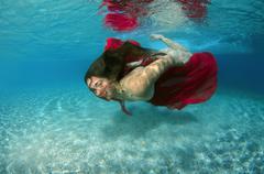 Underwater fashion in Aegean Sea, island Symi, Greece - stock photo