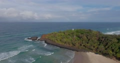 Panoramic view of Fingal Head Stock Footage
