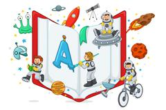Kids Playing and Reading - stock illustration