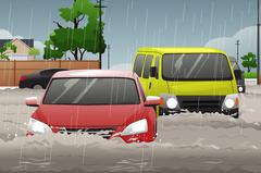 Car Trying to Drive Against Flood - stock illustration