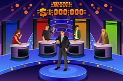 People on Game Show - stock illustration
