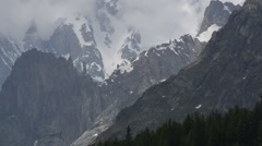 Aiguille Noire de Peuterey seen from the Val Ferret valley, Alps, Italy Stock Footage