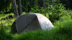 Green tent set up into wild forest in summer season Stock Footage