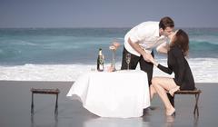 Romance Engagement Couple Love Beach Ocean Lovers Relationship Stock Photos
