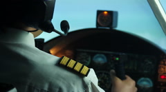 Pilot receives a message from dispatcher, continues flight, air transportation - stock footage