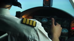 Professional male pilot steering plane, making turn. Responsibility, commitment Stock Footage