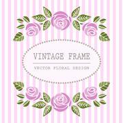 Elegant Floral Frame with Beautiful Roses - stock illustration