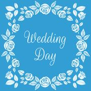 Wedding Day. Floral Frame with Beautiful Roses - stock illustration