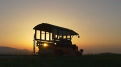 Silhouette of the old bus Stock Footage
