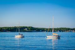 Boats in the Piscataqua River, in Portsmouth, New Hampshire. Stock Photos