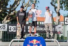 Professional skateboarders podium - stock photo