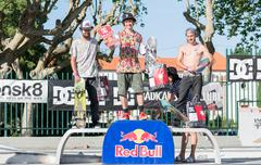 Amateur skateboarders podium Stock Photos