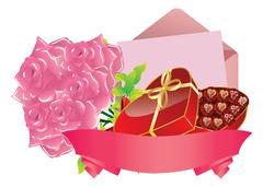 Gift and roses Stock Illustration