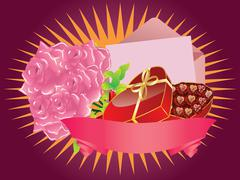 Gift box and roses Stock Illustration