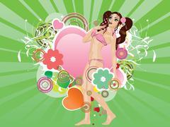 Girl in pink bikini and big heart - stock illustration