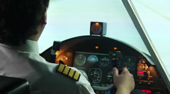 Airplane standing on runway, pilot filling out documents and starting flight - stock footage