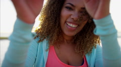 Portrait of voluptuous Ethnic African American female laughing and smiling  Stock Footage