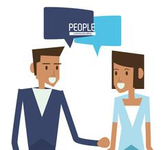woman and man with bubble icon. People design. Vector graphic - stock illustration