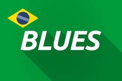 Long shadow Brazil flag with    the text BLUES - stock illustration