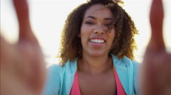 Portrait of beautiful young plus size Ethnic African American female laughing Stock Footage