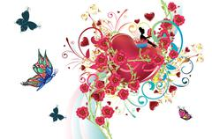 Hearts and Roses - stock illustration