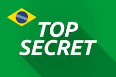 Long shadow Brazil flag with    the text TOP SECRET - stock illustration