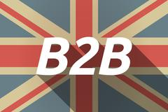 Long shadow UK flag with    the text B2B - stock illustration