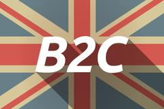 Long shadow UK flag with    the text B2C - stock illustration
