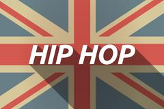Long shadow UK flag with    the text HIP HOP Stock Illustration