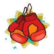 Two red boxing gloves Stock Illustration