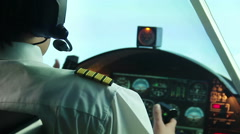 Nervous pilot navigating plane despite turbine engine failure, stressful job Stock Footage