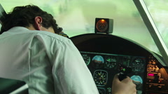 Airplane crash, pilot lost consciousness and airplane falling to the ground Stock Footage
