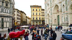 Santa Maria del Fiore Cathedral in Florence Stock Footage