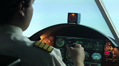 Professional pilot having tremors while navigating airliner, health problems Stock Footage