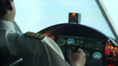 Aircraft hitting turbulence zone, professional pilot controlling plane, danger Stock Footage