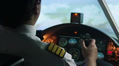 Captain filling out flight plan, plane flying in autopilot mode, pilot at work Stock Footage