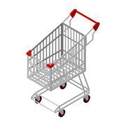 Shopping cart isometrics. Empty Supermarket shopping trolley isolated. - stock illustration