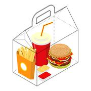 Fast food box. Packing for breakfast. French fries and hamburger. Cheese sauc Piirros